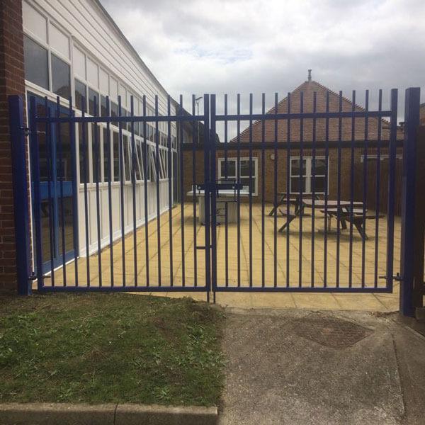 Blue-railing-security-gates