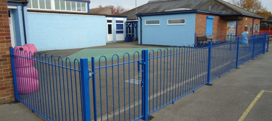 Bow top railings Blue