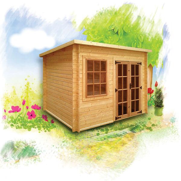 Charnwood pent log cabin
