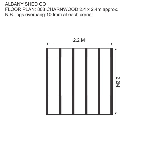 8x8 Charnwood log cabin floor plan