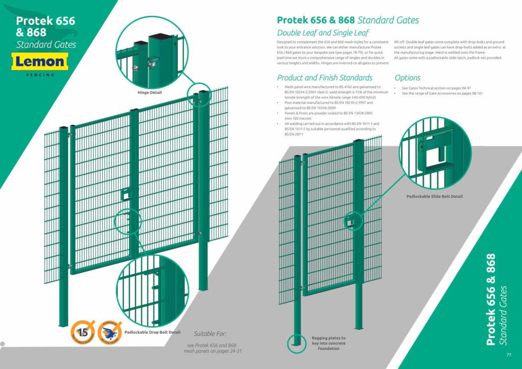 Protek 656 – 868 Mesh Standard gates – Lemon Fencing | Fencing in ...