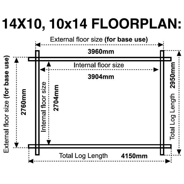 14x10 floor plan 28mm log cabin
