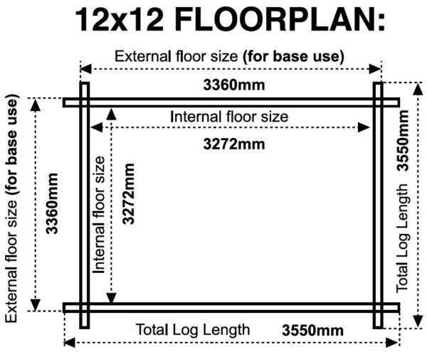 12x12 44mm log cabin floor plan