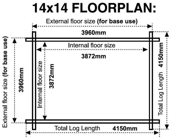 14x14 44mm log cabin floor plan