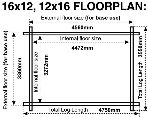 16x12 12x16 44mm log cabin floor plan