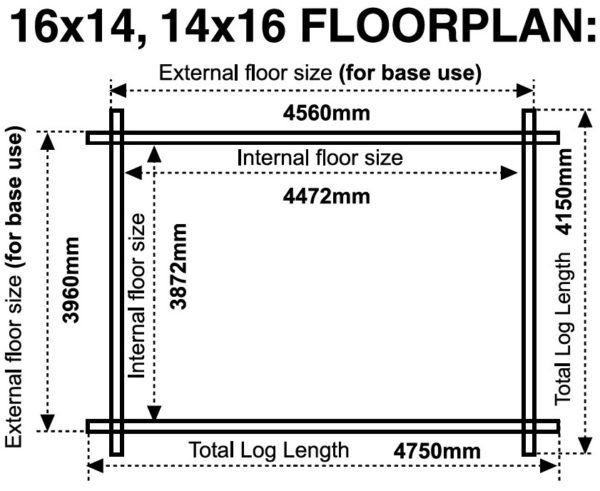 16x14 14x16 44mm log cabin floor plan