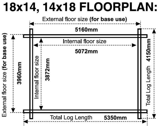 18x14 14x18 44mm log cabin floor plan