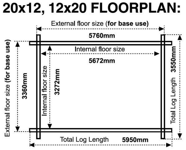 20x12 12x20 44mm 18x12 12x18 44mm log cabin floor plan