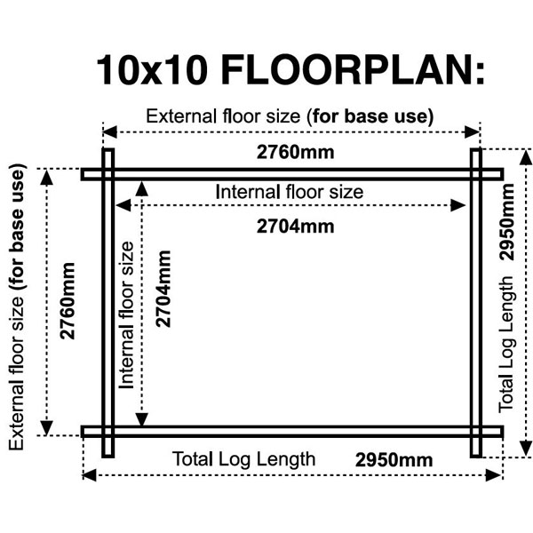 10x10 floor plan 28mm log cabin
