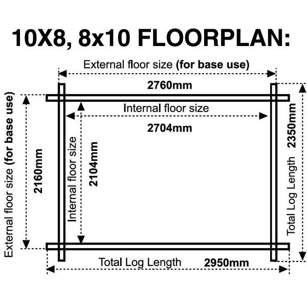 10x8 8x10 floor plan 28mm log cabins