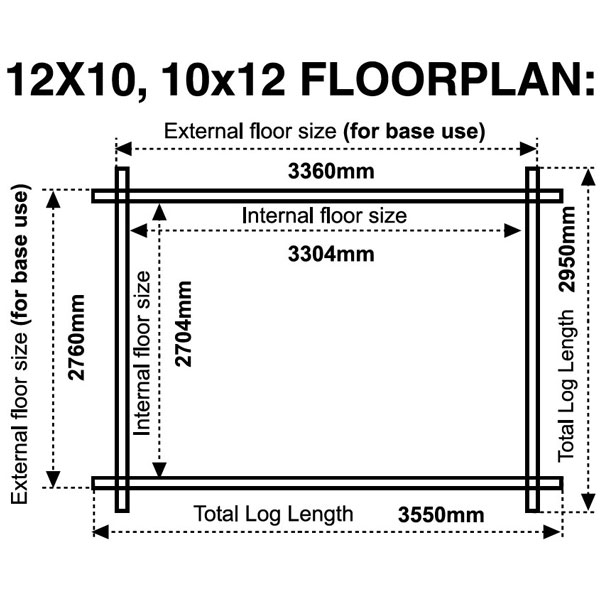 12x10 10x12 floor plan 28mm log cabin