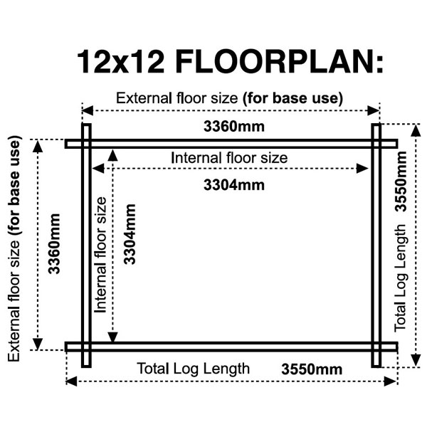 12x12 floor plan 28mm log cabin