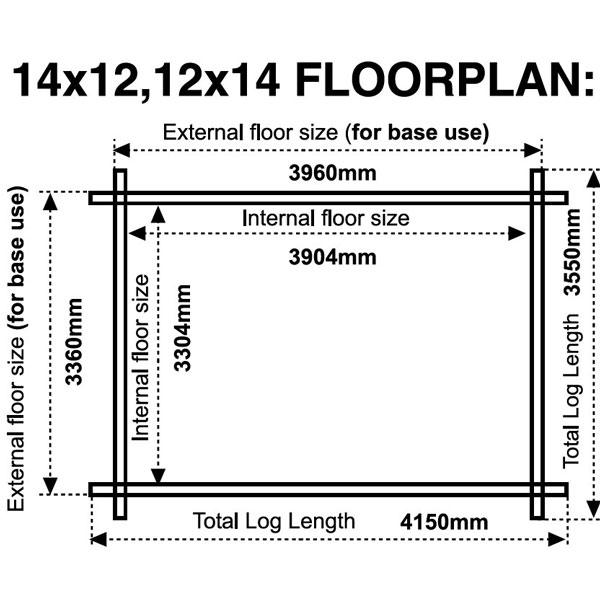 14x12 floor plan 28mm log cabin