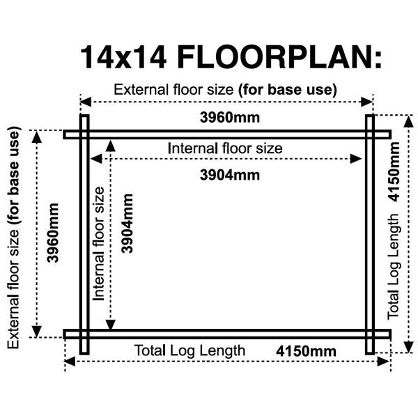 14x14 floor plan 28mm log cabin