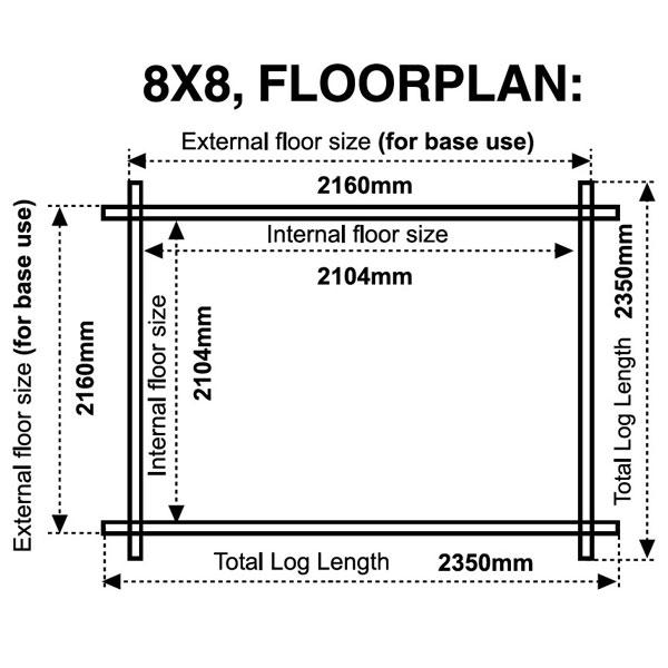 8x8 floor plan 28mm log cabin