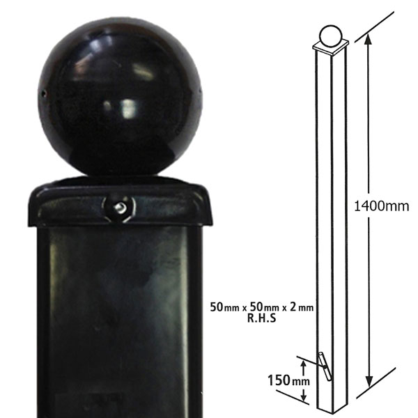 BP50X1400BZP - small dig in ball top post