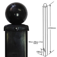 BP50X2350BZP- tall ball top dig in post