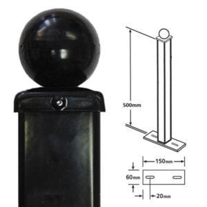 BP50X500BZP - bolt down post for metal railings ball top