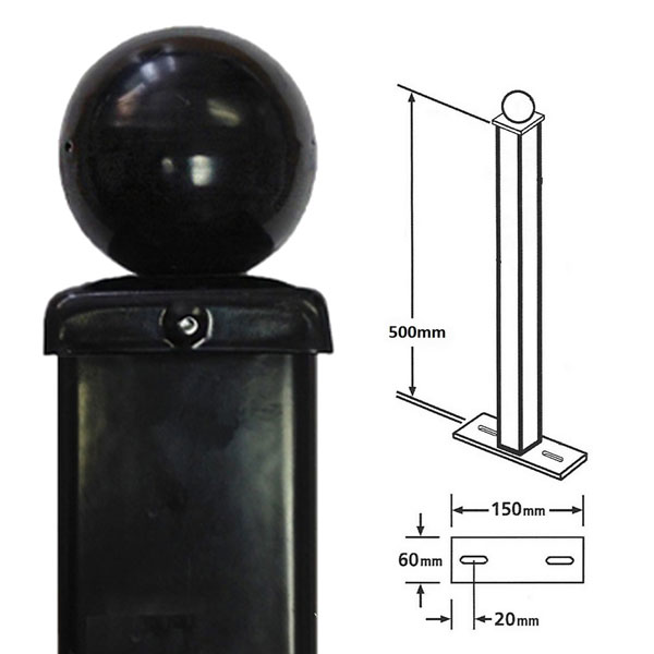 BP50X500BZP - bolt down post for metal railings ball top