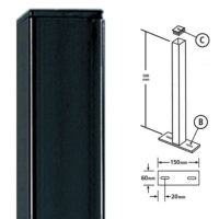 BP50X500ZP- Bolt down post for metal railings flat top