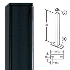 BP50X500ZP- Bolt down post for metal railings flat top