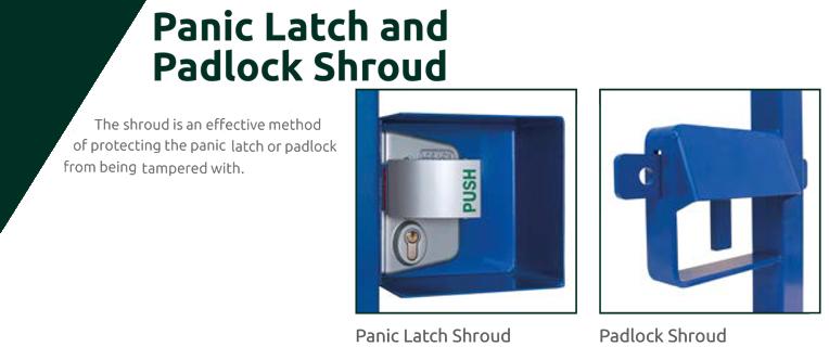 Panic latch and padlock shroud