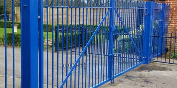 Blue-bow-top-railing-gates-